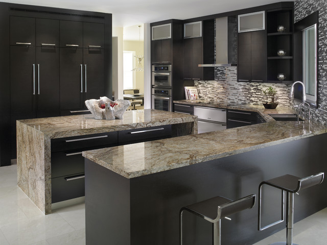 Elegant Kitchen with Tiberius Gold Granite Countertops ... on Kitchen Counter Decor Modern  id=16553