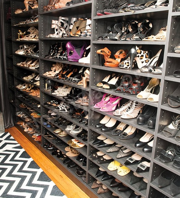 What Does A Stylists Shoe And Handbag Closet Look Like Contemporary Closet New York By