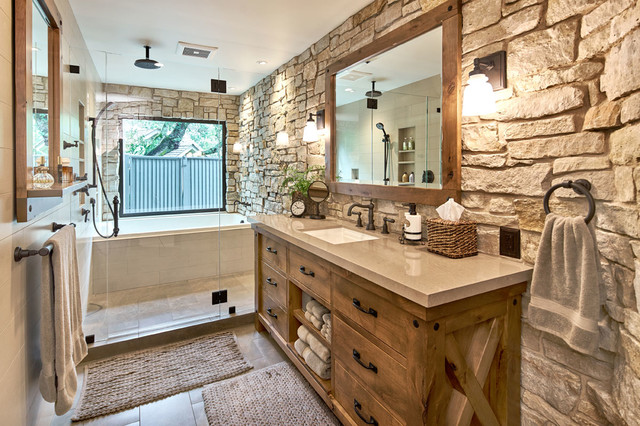 modern master retreat with old world flair rustic on rustic bathroom designs photos id=77417