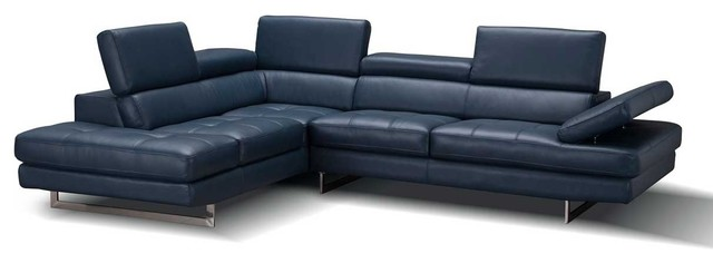 a761 italian leather sectional sofa in blue left hand facing chaise