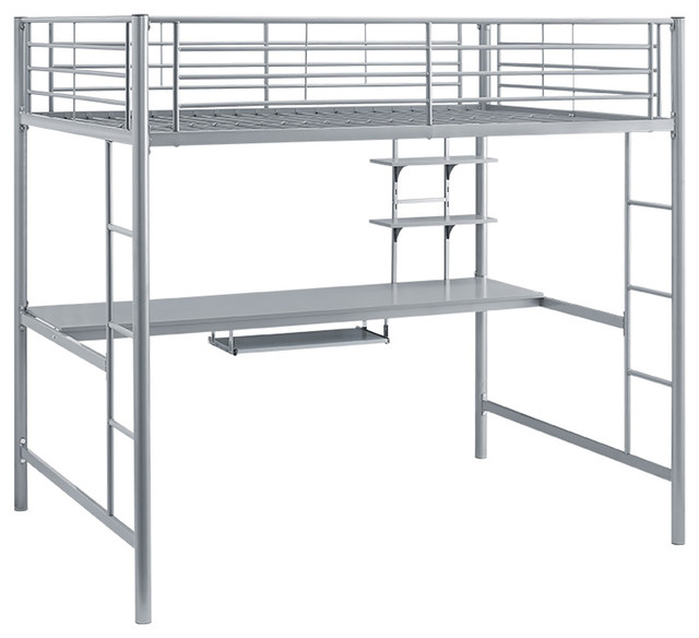 full size metal loft bed with desk silver