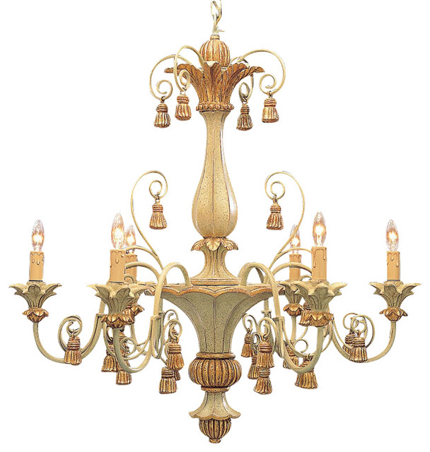 Carved Wood Italian Chandelier With Tassels Traditional Chandeliers