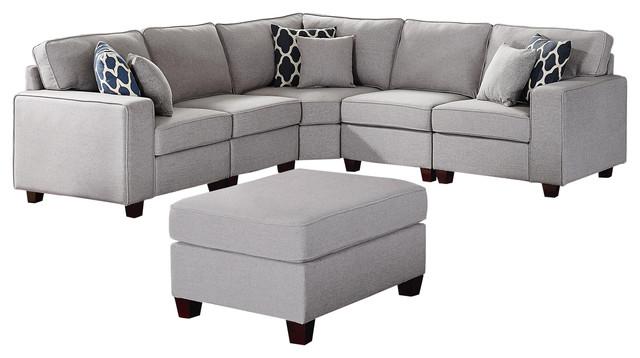 sonoma 6pc modular sectional sofa ottoman in light gray linen