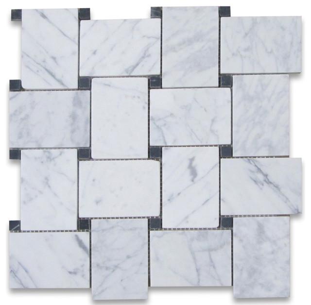 11 x11 carrara white large basketweave mosaic tile with black dots honed