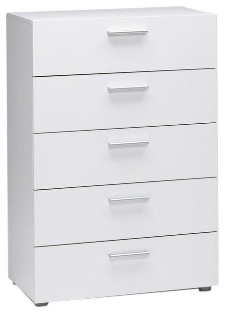 contemporary 5-drawer bedroom dresser, white - contemporary