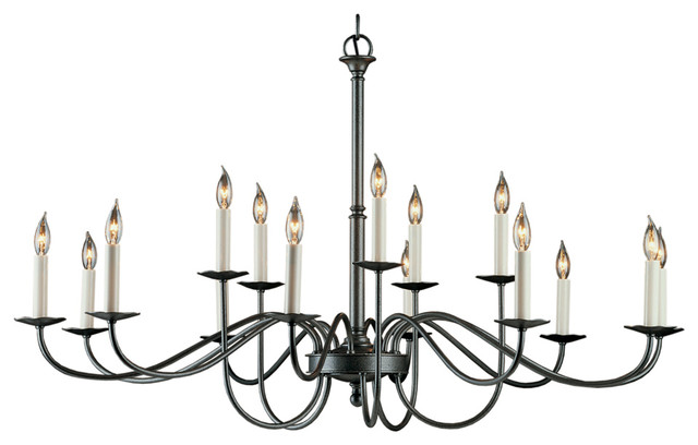 Hubbardton Forge 19204415lc 15 Light Simple Lines Large Scale Chandelier Traditional Chandeliers