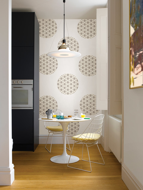 Breakfast Nook with WallPops Zoe Dots kitchen