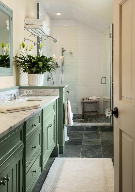 Narrow Bath - Farmhouse - Bathroom - New York - by Crisp ... on Farmhouse Bathroom Floor Tile  id=13549
