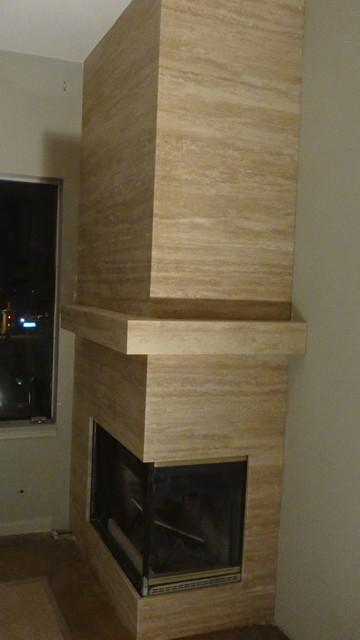 Travertine Fireplace In Dana Point Beach Style Living