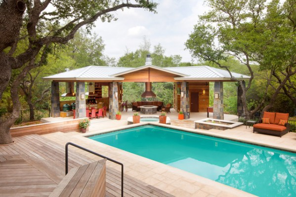 outdoor living patio and pool Outdoor Living Paradise - Contemporary - Pool - Austin