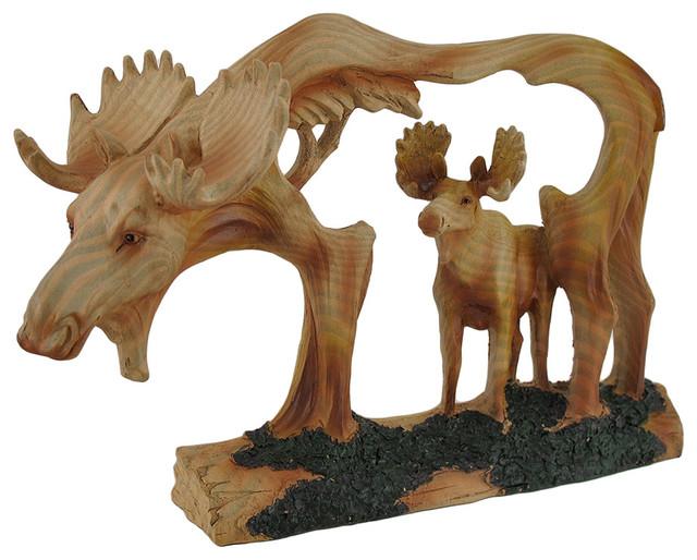 Carved Wood Look Cutout Moose In Moose Sculpture Rustic