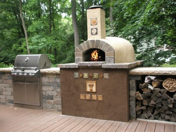 brick patio with outdoor kitchen Hughes' Outdoor Kitchen - Southwestern - Patio - Grand