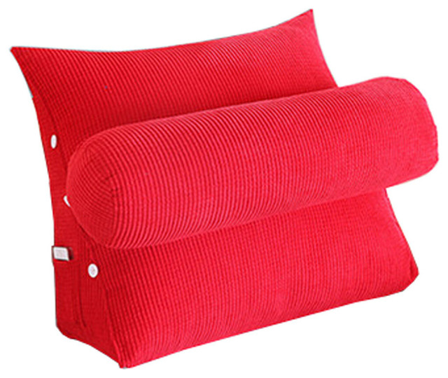 soft triangle back cushion lumbar support backrest pillow red