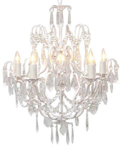Wrought Iron And Crystal Chandelier White Traditional Chandeliers