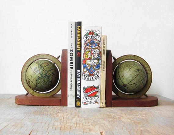 Vintage Globe Bookends Clectique Serre Livre Par Etsy