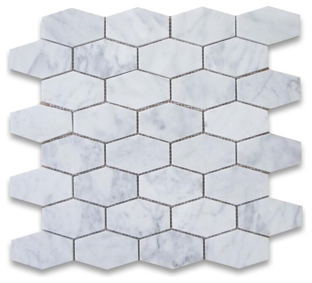12 x12 carrara white elongated hexagon mosaic tile honed chip size 1 25 x3