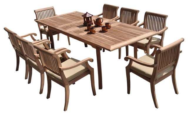 "9-Piece Outdoor Teak Dining Set 94"" Rectangle Table, 8"