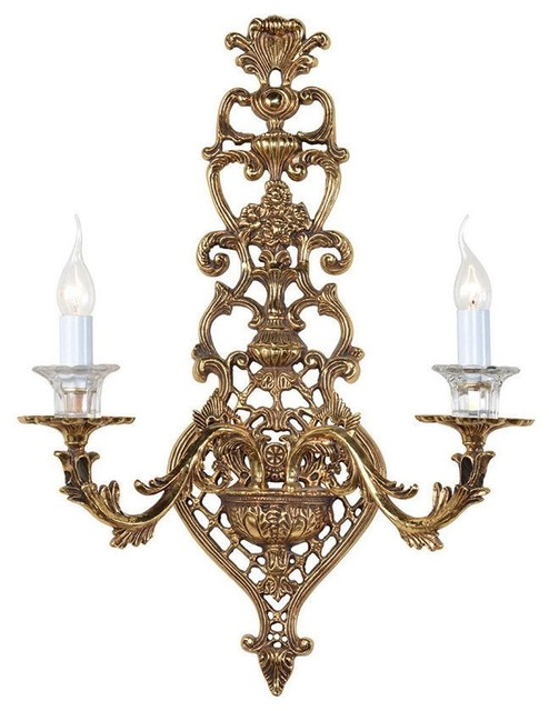 Vintage Style Elegant Brass Wall Sconce with Candles ... on Victorian Wall Sconces id=36660