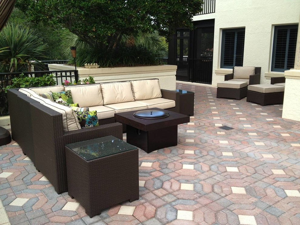 patio furniture set with gas fire pit