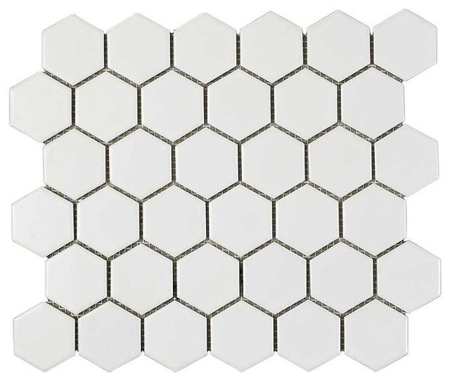 2 x2 porcelain hexagon mosaic tile white