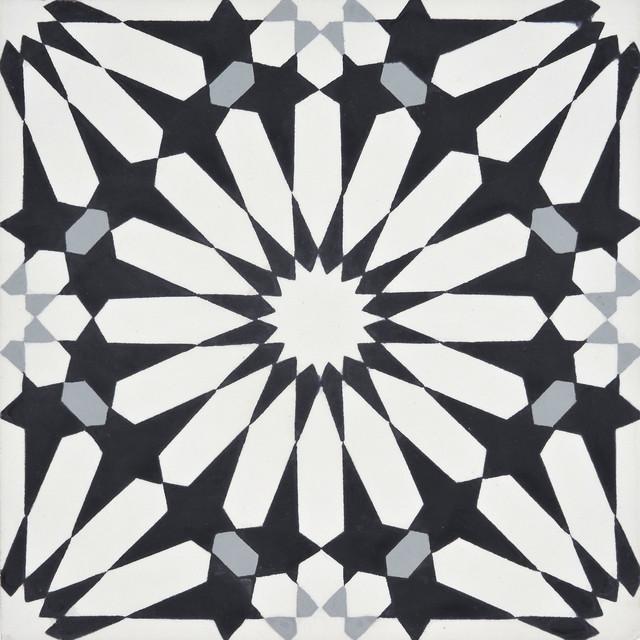 8 x8 alhambra handmade cement tile black white gray set of 12