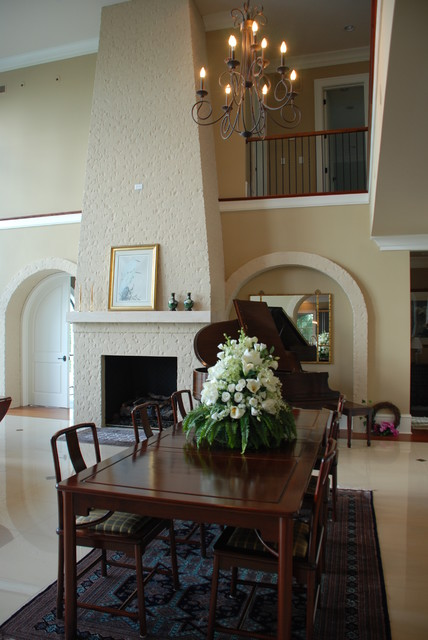 Grand Painted Brick Fireplace Modern Dining Room Charleston By Priesters Custom