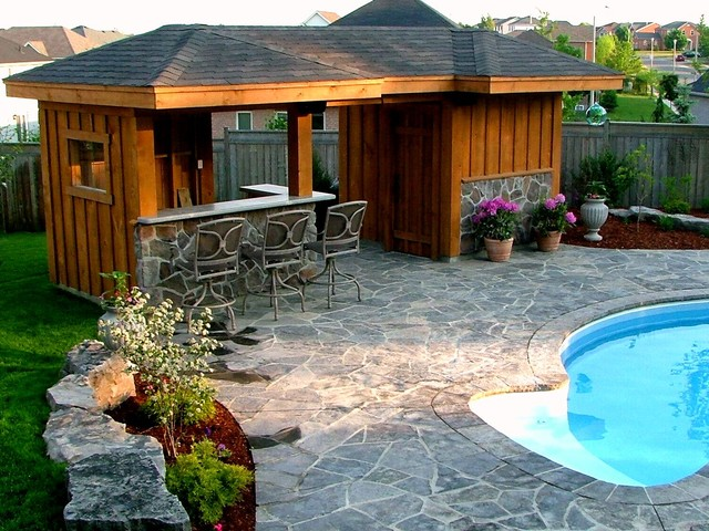 Pool Cabana and Bar Area - Traditional - Pool - Toronto ... on Cabana Designs Ideas id=20978