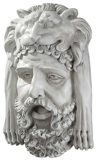Hercules Bust With Nemean Lion Headdress Wall Sculpture mediterranean-wall-sculptures