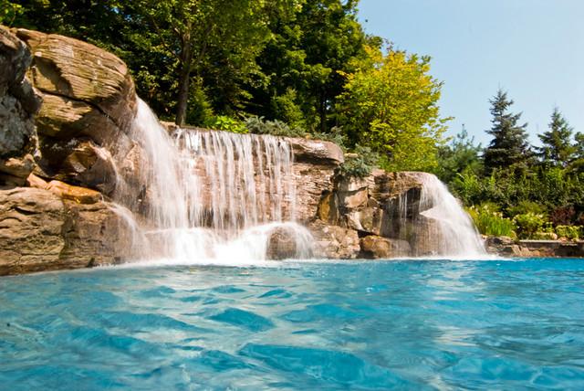 Large Backyard Swimming Pool Waterfall Design Bergen