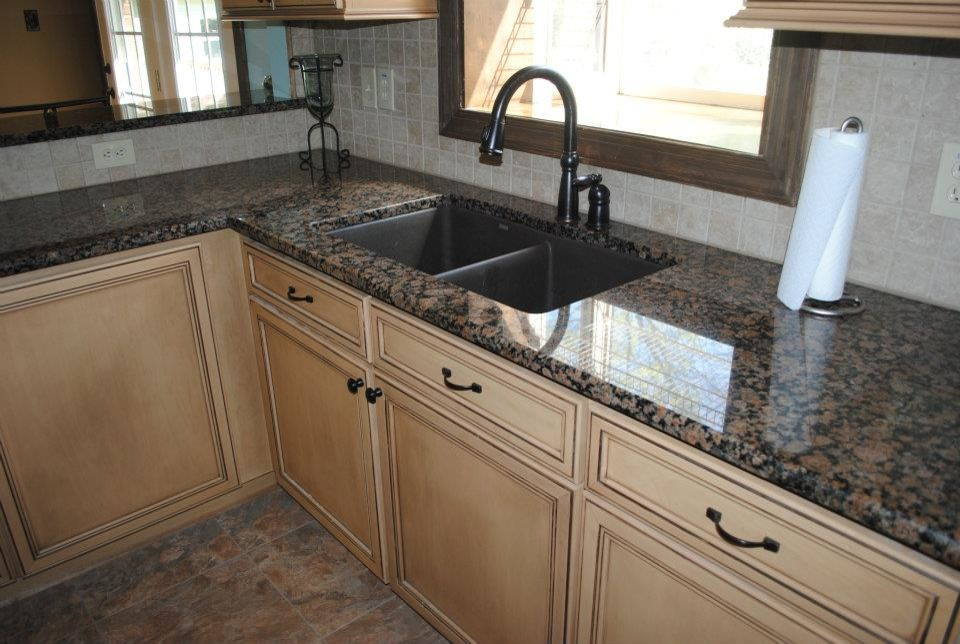 Baltic Brown Granite with Tile Backsplash. Maple Cabinets ... on Backsplash For Maple Cabinets  id=17081