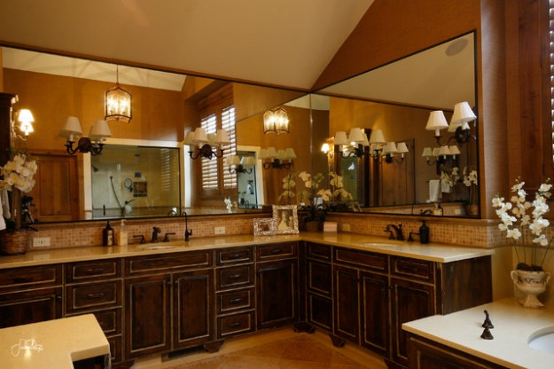 stunning master bathroom vanity with double sink - traditional
