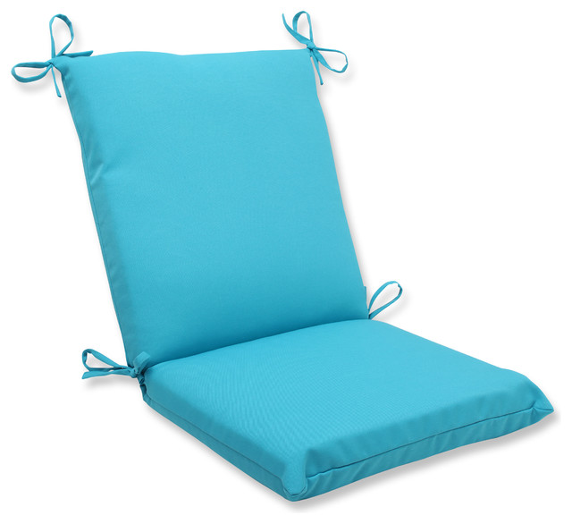 Veranda Turquoise Squared Corners Chair Cushion Tropical Outdoor Cushions And Pillows By