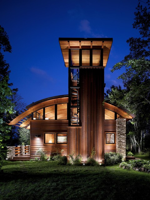 Modern Cabin With Stone Pillars Rustic Exterior