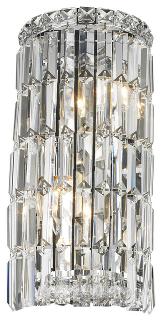 Contemporary 2-Light Chrome Finish Clear Crystal Curved ... on Small Wall Sconce Light id=70046