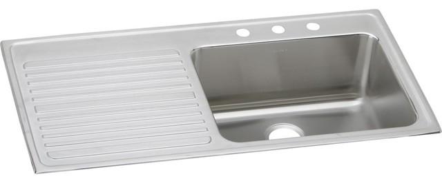 elkay lustertone stainless steel single bowl top mount sink with drainboard