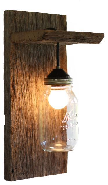 Barn Wood Mason Jar Light Fixture - Rustic - Wall Sconces ... on Rustic Wall Sconces id=68015