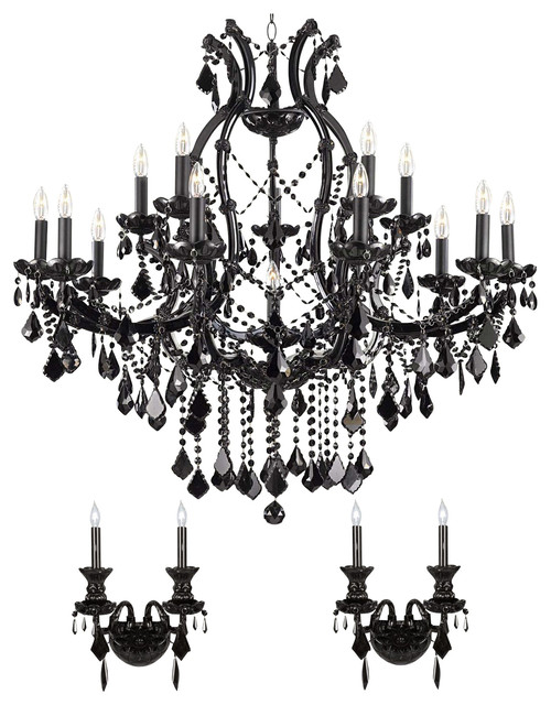 3 Piece Set Jet Black Crystal Chandelier And 2 Wall Sconces Traditional