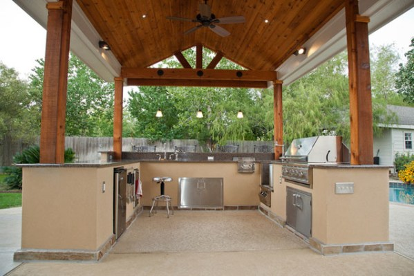 cover patio with outdoor kitchen Outdoor Kitchen and Patio Cover in Katy, TX - Traditional