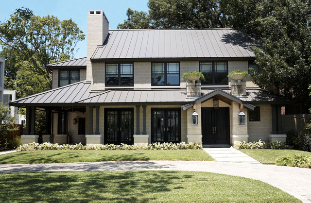 Trendy Beige Two Story Exterior Home Photo In Dallas