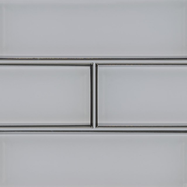 ice bevel glossy glass subway tile sample