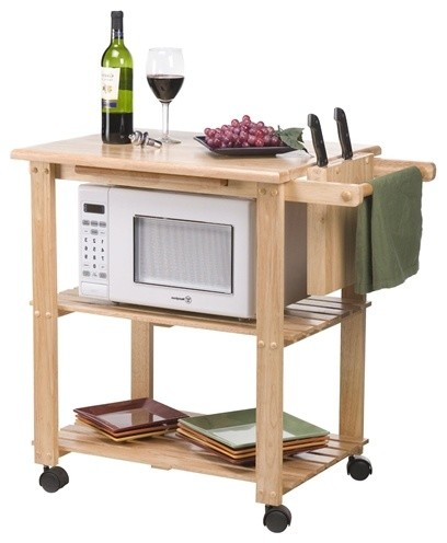 solid wood kitchen utility microwave cart