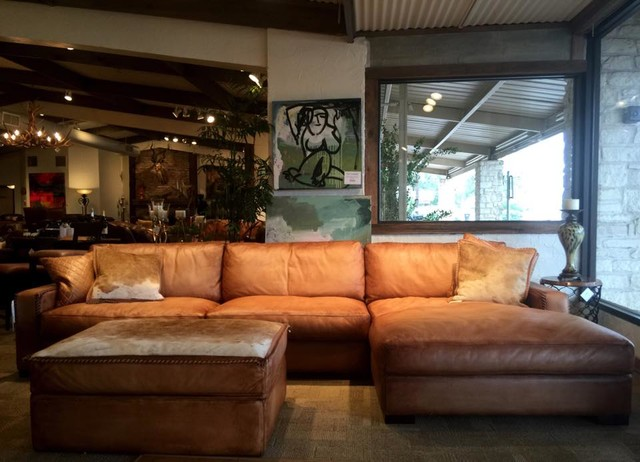 Rustic Leather Sofa By Eleanor Rigby Austin Tx Amp Houston Tx Traditional Living Room