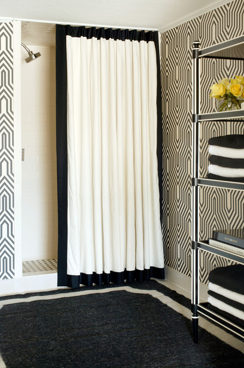... Walk In Showers Have Floor To Ceiling Openings. Adding A Ribbon Or  Fabric Boarder To A Standard Shower Curtain Covers That Opening More  Completely.