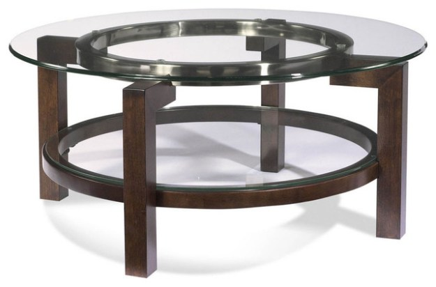 bassett mirror t1705-120 oslo round glass top cocktail table