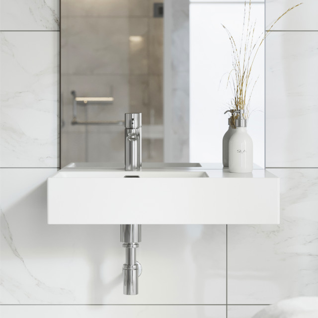 st tropez 24 x18 ceramic wall hung sink with left side faucet mount