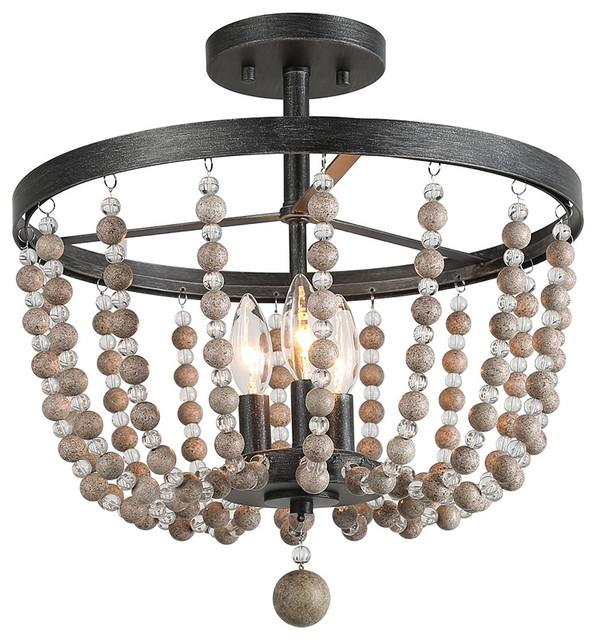 farmhouse 3 light semi flush mount ceiling lights oil rubbed bronze