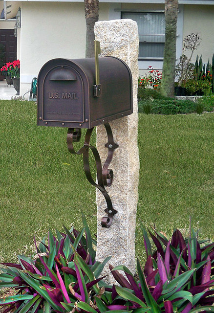 Granite Mailbox Post In Honey Wheat Color Traditional
