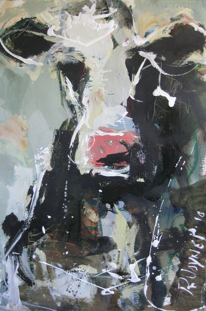 Abstract Representational Cow Painting Contemporary
