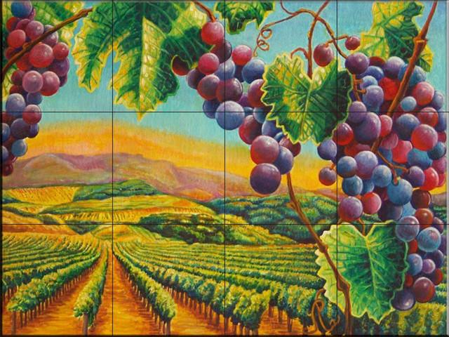 Tile Mural, Vineyard By Fran Hardy