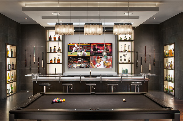 Minimalist Mountainside Contemporary Home Bar